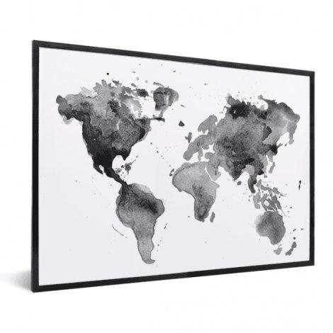 Peinture aquarelle noir et blanc encadrée