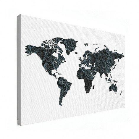 Imprimé asiatique noir et bleu toile