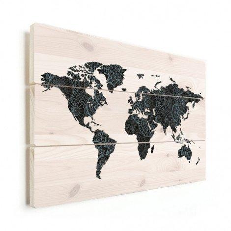 Imprimé asiatique noir et bleu bois