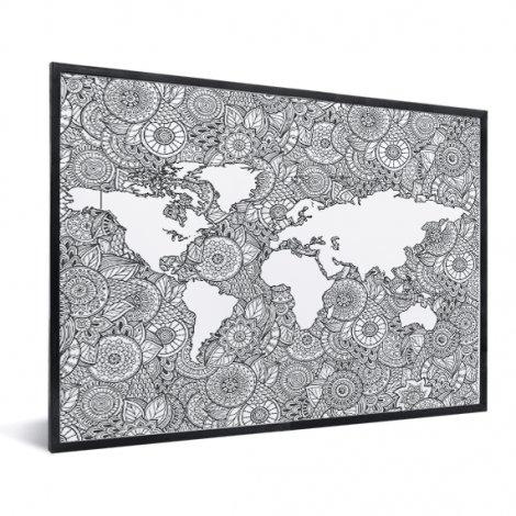 Imprimé asiatique noir et blanc encadrée