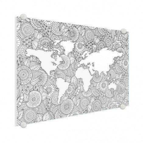 Imprimé asiatique noir et blanc plexiglas