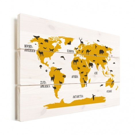 Animaux jaunes bois