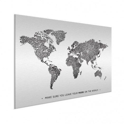 Empreinte digitale noir et blanc avec texte aluminium