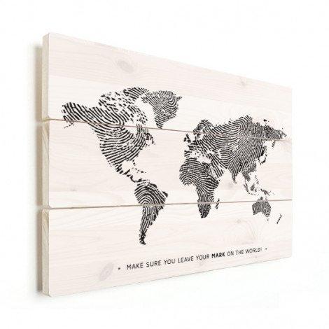 Empreinte digitale noir et blanc avec texte bois