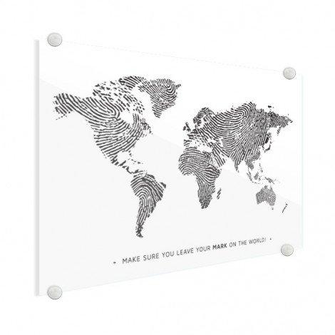 Empreinte digitale noir et blanc avec texte plexiglas