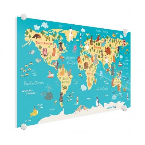 Continents et océans sur plexiglas