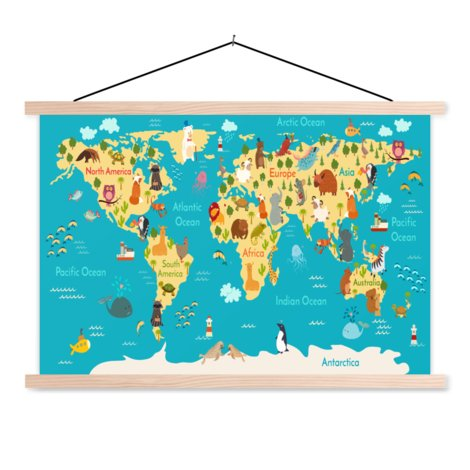 Continents et océans affiche scolaire