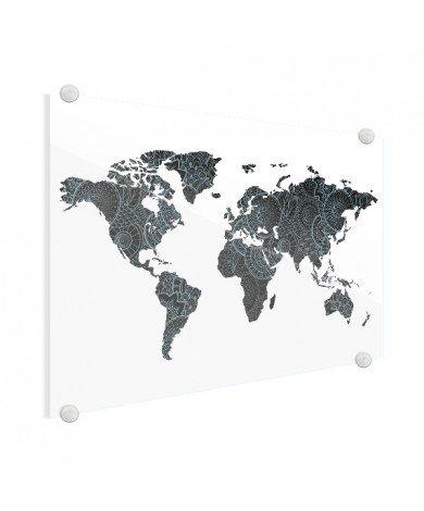 Imprimé asiatique noir et bleu plexiglas