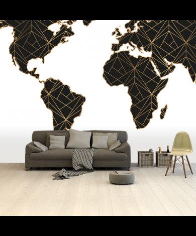 Géométrique noir et or papier peint