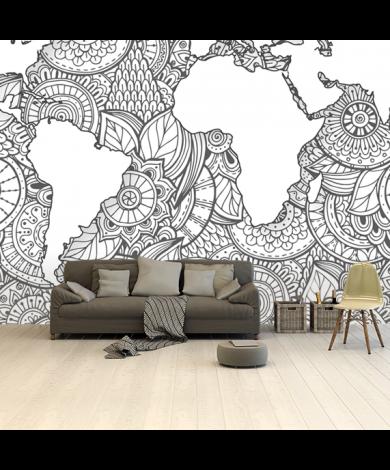 Imprimé asiatique noir et blanc papier peint