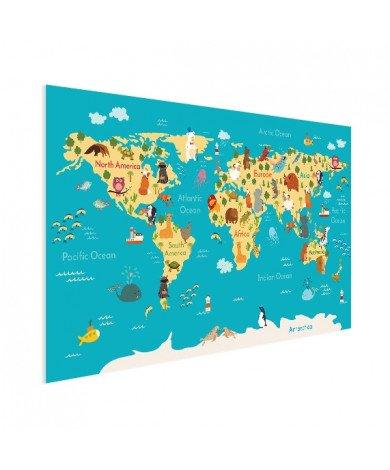 Continents et océans affiche