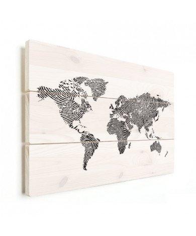 Avec empreinte digital noir et blanc bois