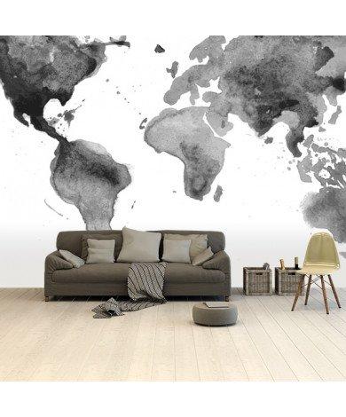 Peinture aquarelle noir et blanc papier peint