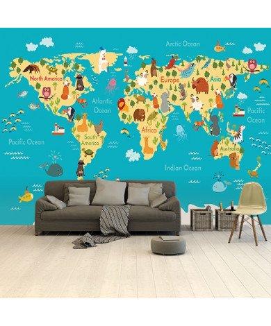 Continents et océans papier peint