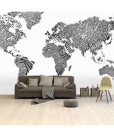 Empreinte digitale noir et blanc papier peint