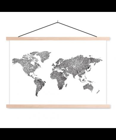 Certe du monde avec empreinte digital noir et blanc affiche scolaire