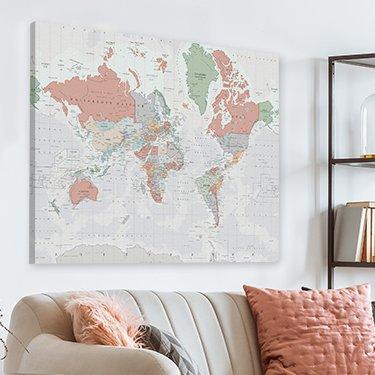 Carte du monde sur toile