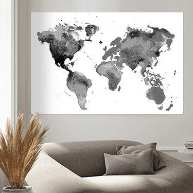 Cartes du monde en noir et blanc